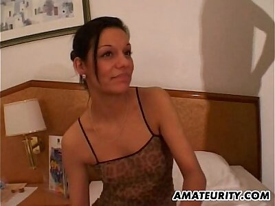 Crude girlfriend sucks coupled with fucks in a motel room